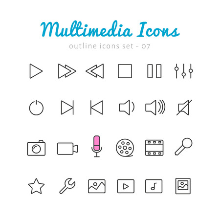 multimedia icons: Multimedia thin linear icons set  for web and mobile application. Photo, video, music, control elements