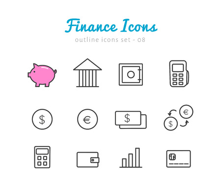 calculator: Finance thin linear icons set  for web and mobile application. Money pictograms
