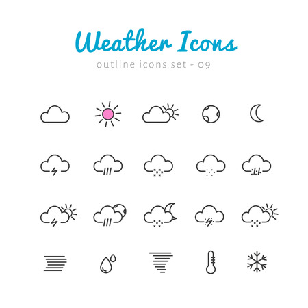 phenomenon: Weather thin linear icons set  for web and mobile application. Nature phenomenon pictograms