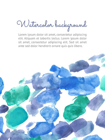 paiting: Vertical vector watercolor spot background. Vector template for your flayers, banners, cards design. Hand paiting watercolour elements with space for your text.