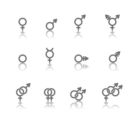 Vector linear icons of gender symbols and its combinations with reflections. Male, female and transgender symbols.