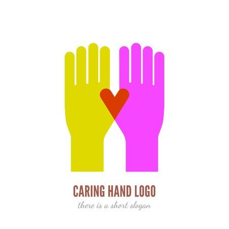 Vector illustration de deux mains logo modèle. Aide, soins, assistant notion icône.