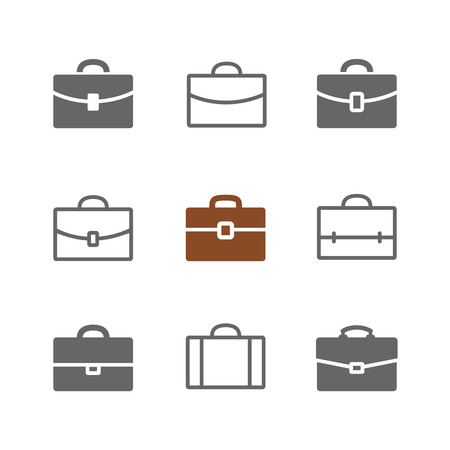 Vector set of Briefcase icons. Black Briefcase, suitecase and school case pictograms isolated on white. Solid and outlines.