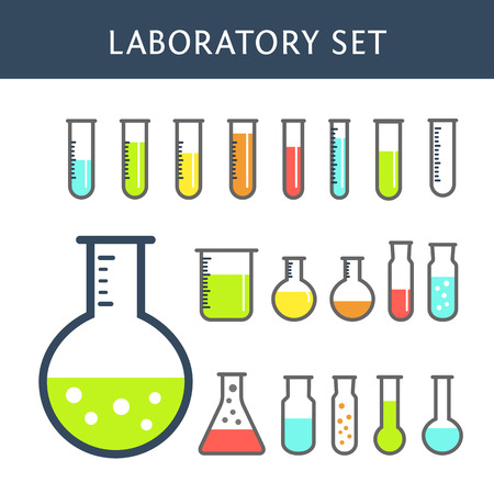 Flet kleurrijke Chemical reageerbuis iconen. Set van het chemisch lab-apparatuur op wit wordt geïsoleerd. Experiment kolven voor wetenschappelijk experiment. Stock Illustratie