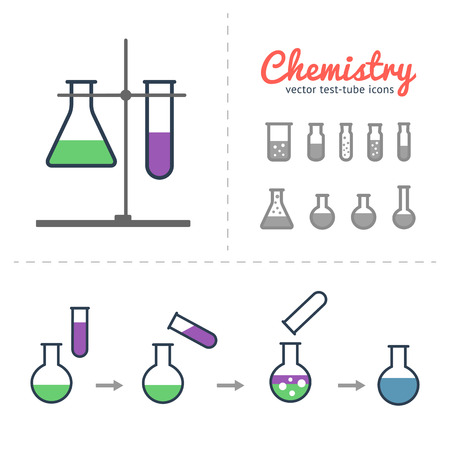 Chemical test tube icons set with laboratory tripod and illustration of process chemical reaction. Chemical lab equipment isolated on white.