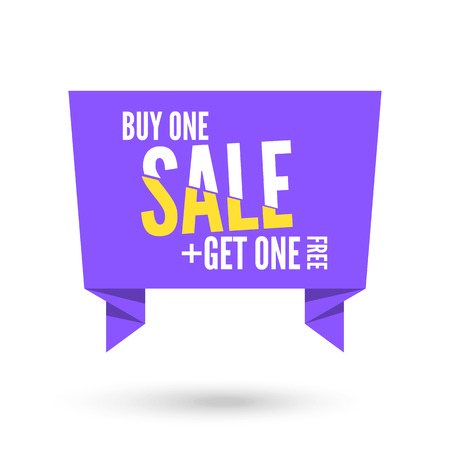 origami paper: Violet Origami paper speech bubble for sale. Vector ribbon banner design for advertising