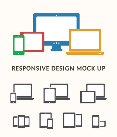 responsive web design: Smartphone, desktop computer, laptop and tablet PC icons and combinations. Flat vector responsive web design icons. Illustration