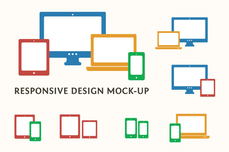 computer devices: Smartphone, desktop computer, laptop and tablet PC icons and combinations. Flat vector responsive web design symbols.