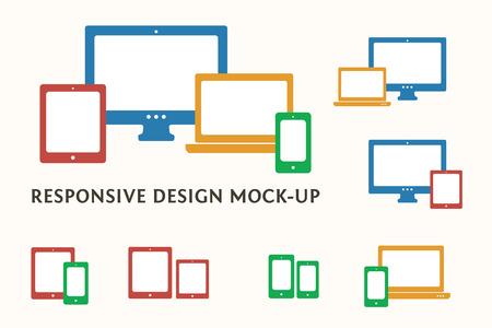 icono computadora: Smartphone, ordenador de sobremesa, portátil e iconos y combinaciones de Tablet PC. Piso vector web sensibles símbolos del diseño. Vectores
