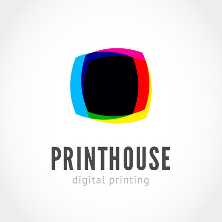 Printing house logo with ink splashes elements in a CMYK color scheme isolated on white background.  Vector colorful stains and blots for prinhouse branding and other design concepts
