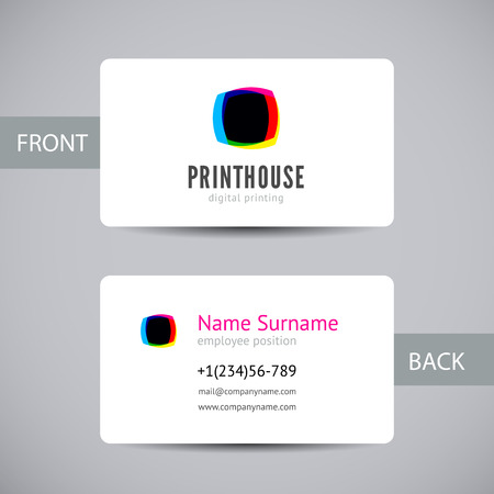 Business card template for printery with printing hoese logo in a CMYK color scheme isolated.  Vector mock up for printing house branding and other design concepts