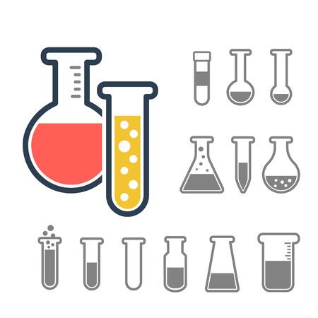化学のテスト チューブのアイコンを設定します。化学実験装置は、白で隔離。科学実験用のフラスコを実験します。