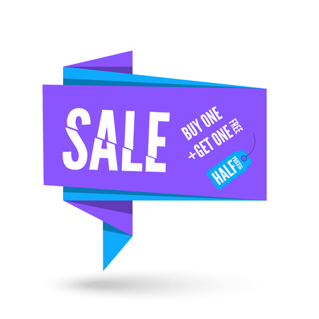 origami paper: Blue and violet Origami paper speech bubble for sale. Vector ribbon banner design for advertising