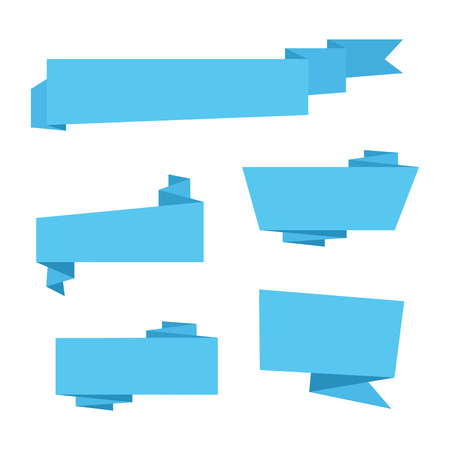 commentary: Set of blue Origami paper ribbons for sale. Vector flat banner design for advertising wit space for text