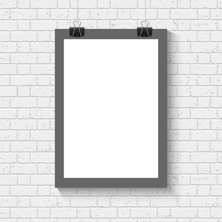 hang up: Vector blank white paper poster with black frame mock up on the brick wall. Template of a paper sheet with clips. Paper card hanging on the rop. Illustration
