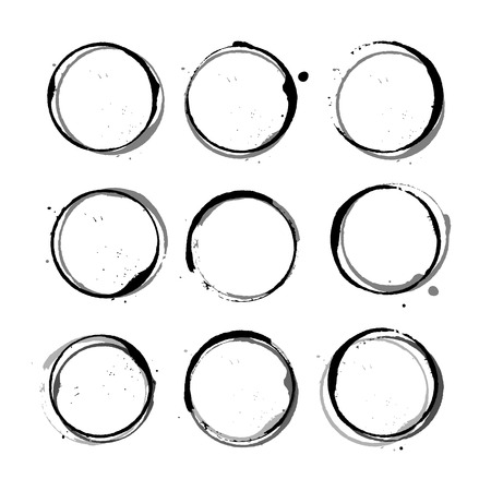 coffee stains: Vector set of black Wine stain circles, splashes and spot isolated on white background. Watercolor hand drawing glass marks.