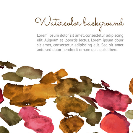 Vector watercolor spot background. Vector template with autumn spots for your flayers, banners, cards design. Hand paiting watercolour elements with space for your text.