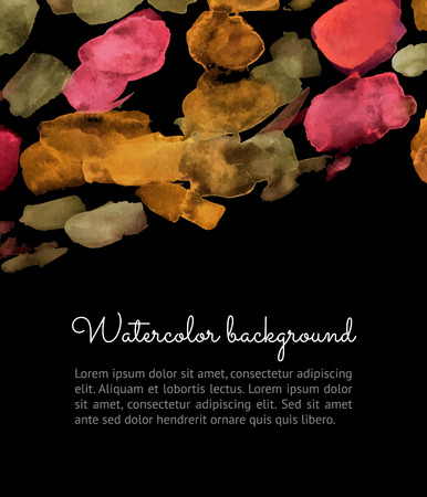 watercolour: Vertical Vector watercolor spot on dark background. Vector template with autumn spots for your flayers, banners, cards design. Hand paiting watercolour elements with space for your text. Illustration
