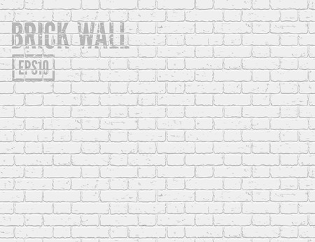 White grunge brick wall. Vector illustration EPS10