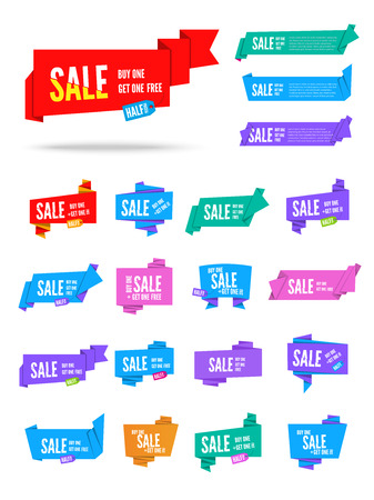 origami paper: Colorful vector origami paper speech bubbles collection. Set of flat ribbon banner, label and tag