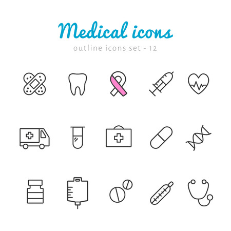 teeth: Medical health outline icons. Vector outline black pictograms for web and application. Contour simple icons set Illustration