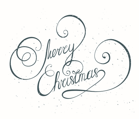 caligraphy: Merry Christmas vintage text. Hand written lettering. Type design for greeting card. Caligraphy Illustration