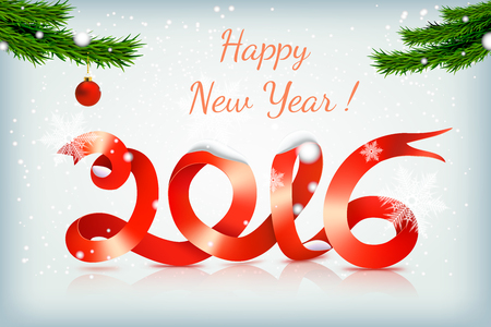 new years eve: Realistic red happy new year ribbon on snowing background with christmas tree and red balls Illustration
