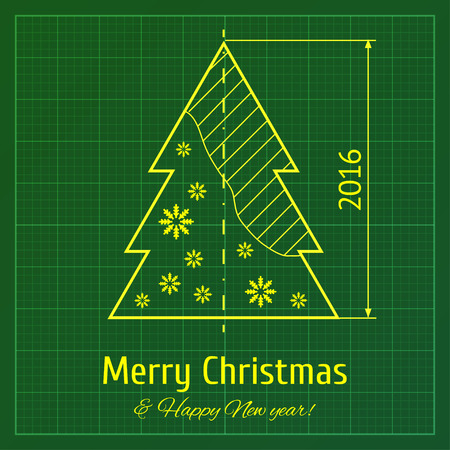 christmas tree sketch on green architect graph paper illustration