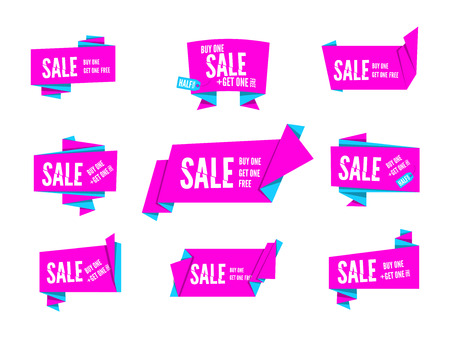 origami paper: Colorful pink origami paper speech bubbles collection. Set of flat ribbon banner, label and tag for  design and presentation