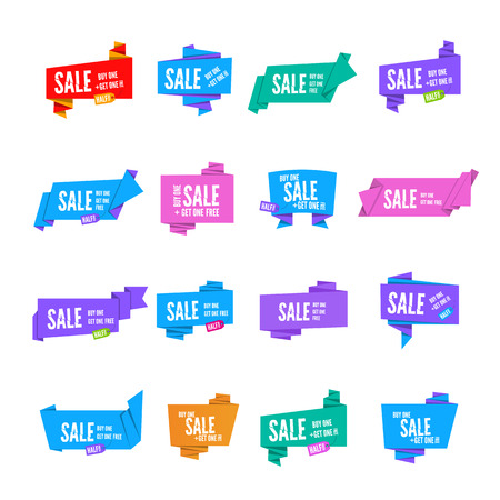 origami paper: Colorful origami paper speech bubbles collection. Set of flat ribbon banner paper