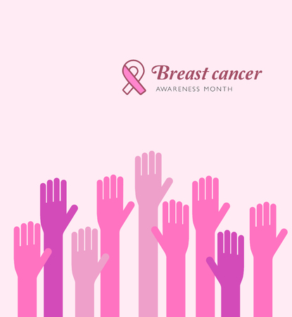 Breast cancer awareness month. Care hands concept