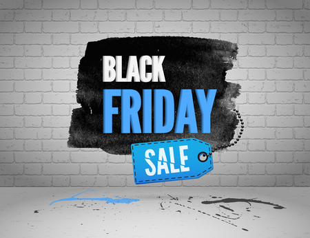 shoppping: Black Friday banner with splashes of ink and shoppping tag