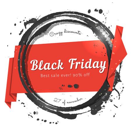검은 수채화 우표 블랙 프라이데이 종이 리본 판매 태그. 휴일 판매를위한 광고 배너입니다.