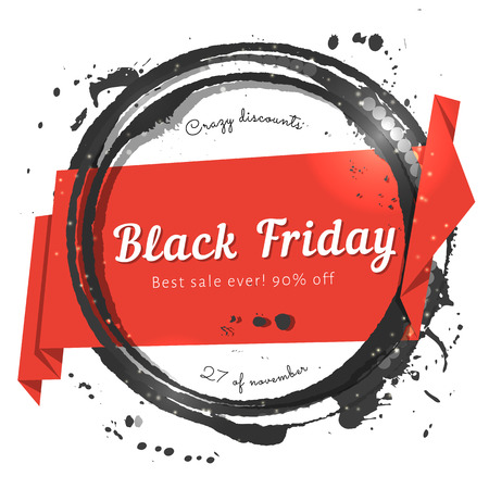 Black Friday Papierband Verkauf Tag mit schwarzen Aquarell Briefmarken. Werbebanner für Ferien verkaufen.