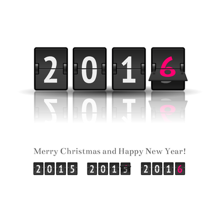 scoreboard timer: 2016 countdown timer with flip isolated on white background. Analog scoreboard flip calendar change represents the new year 2016.