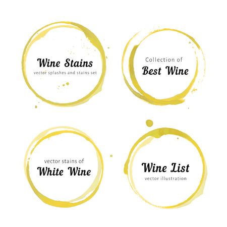 set of white Wine stain circles, splashes and spot isolated on white background. Watercolor hand drawing glass marks. Vettoriali