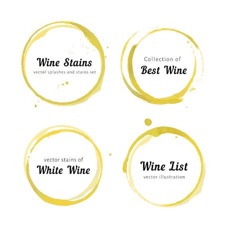 serie di vino bianco circoli macchia, spruzzi e posto isolato su sfondo bianco. Disegno acquerello mano segni di vetro.