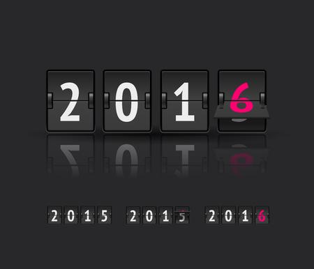 scoreboard timer: 2016 countdown timer isolated on dark background. Analog scoreboard flip calendar. Happy new year 2016