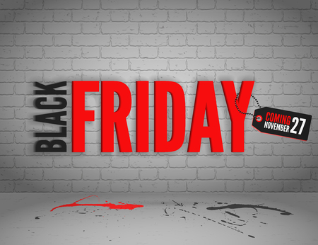 Black Friday banner with splashes of ink and shoppping tag and bags Ilustracja