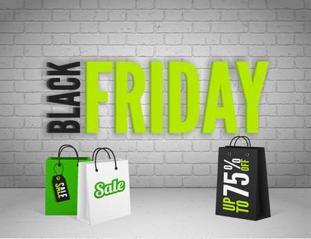 black white: Black Friday banner with splashes of ink and shoppping tag and bags Illustration