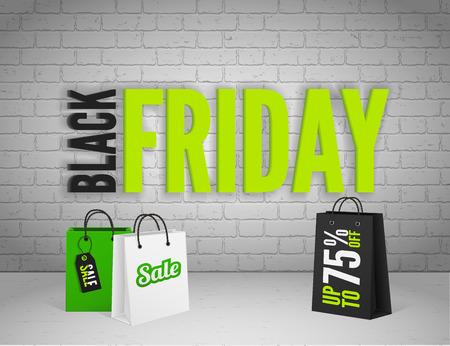 fondo blanco y negro: Negro bandera viernes con salpicaduras de tinta y de etiquetas y bolsas de shoppping Vectores