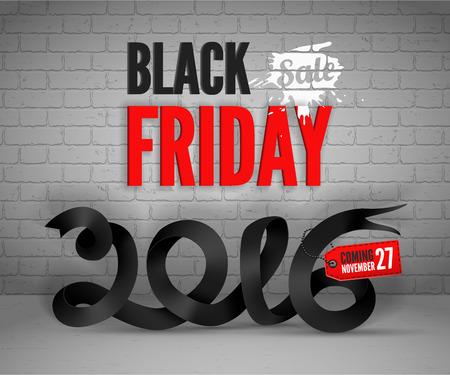 shoppping: Black Friday banner withblack ribbon and shoppping tag