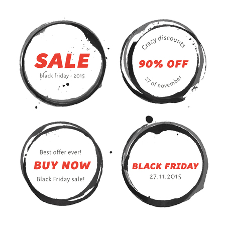 round shape: Black Friday badges set with black watercolor stamps.  Black winr glass rings. Advertising banner for holiday sale.