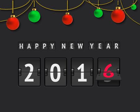 scoreboard timer: New year 2016 scoreboard. Analog scoreboard with holiday text and christmas balls. Flip countdown timer