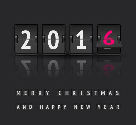 scoreboard timer: New year 2016 countdown timer with flip. Analog scoreboard flip calendar change represents 2016.