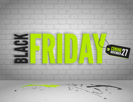 shoppping: Black Friday banner with splashes of ink and shoppping tag and bags Illustration