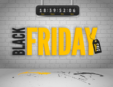 shoppping: Black Friday banner with splashes of ink and shoppping tag and countdown timer