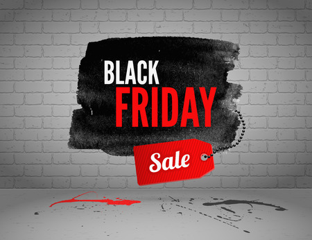 black red: Black Friday banner with splashes of ink and shoppping tag