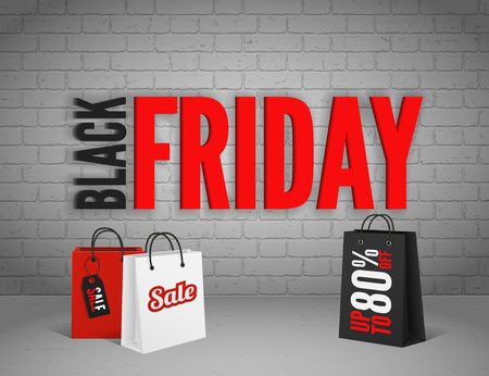 black and red: Black Friday banner with splashes of ink and shoppping tag and bags Illustration