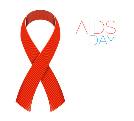 aids symbol: Realistic AIDS awareness red satin ribbon isolated on white background. illustration of symbol for solidarity with HIV-positive people